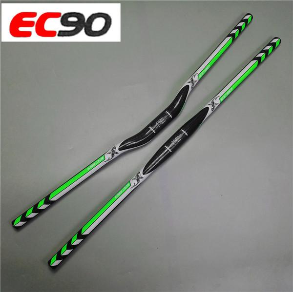 2017 nuevo EC90 Full fibra de carbono MTB / Mountain Bicycle Bend Manillar elevador / Manillar plano recto 3K brillante 31.8mm * 700-760mm
