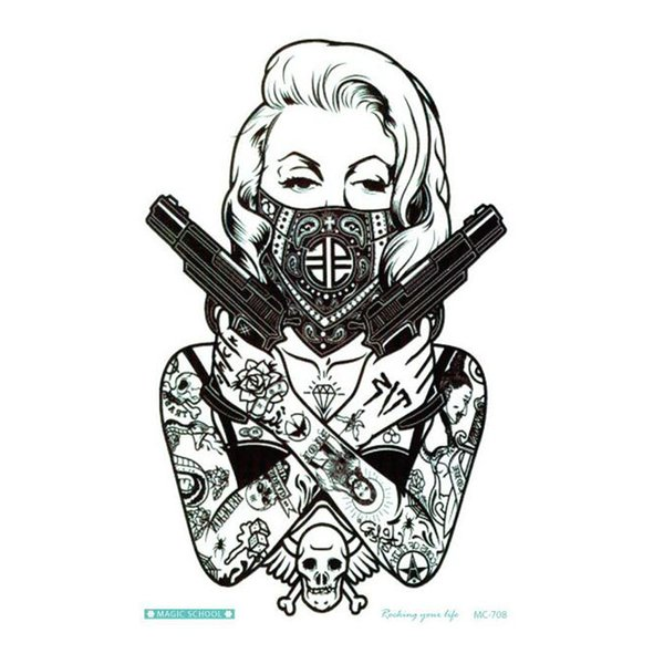 New Design Cool tattoo girl with guns 19x12cm Waterproof Temporary Tattoo Stickers for women body art free ship