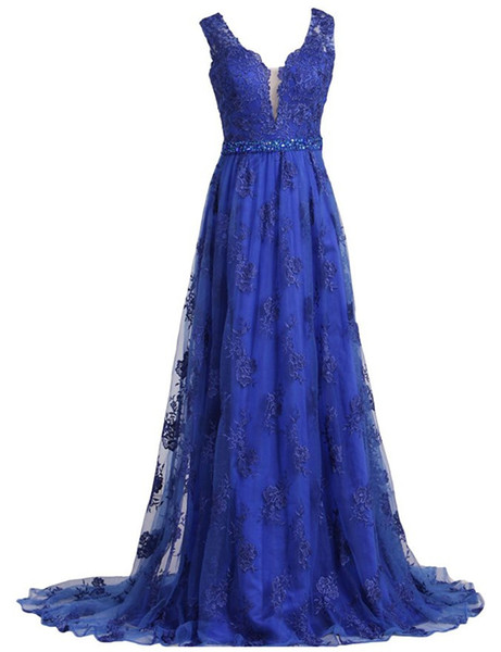 Free Shipping V Neck Evening Dresses vestidos de noiva long prom dresses with Appliques Sweep Train Lace Beaded