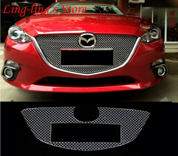 Stainless Steel Chrome Front Center Grille Around Cover Trim Racing Grills For MAZDA 3 AXELA MAZDA 6 ATENZA Exterior Car Styling