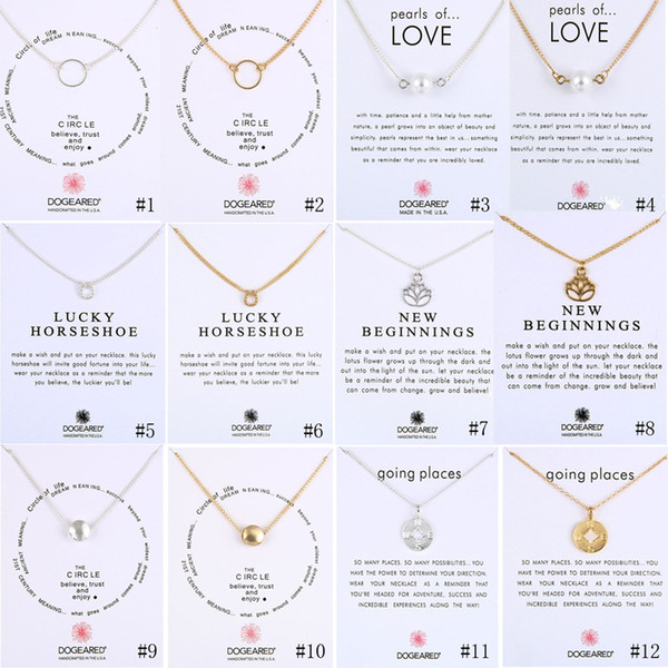 best selling New Dogeared Necklaces With Gift card Circle Pearls Horseshoe compass lotus flower pendants Gold & Silver chain For women Fashion Jewelry