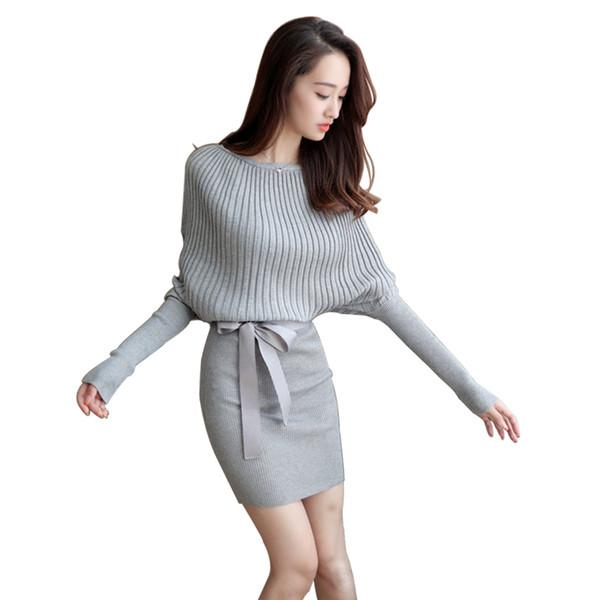 Großhandels- 2017 Strickjacke plus Größen-Flügel-Hülsen-Bodycon kleidet elastisches Kleid-kurze graue gestrickte Kleid-Frauen vestidos mit Gurt in der Ukraine