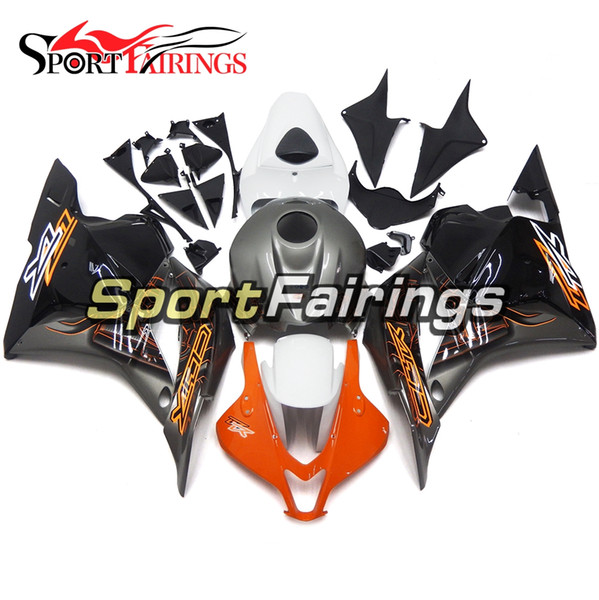 Kit completo de carenado por inyección de motocicleta Gris blanco Franja naranja Nuevo para Honda CBR600RR F5 Año 2009 2010 2011 2012 Inyección ABS Carenados