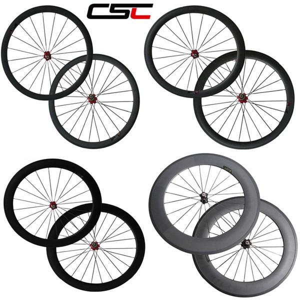 Nuevo El juego de ruedas de fibra de carbono completo más duradero 700C Ruedas / llantas / círculos de carbono de 24 mm / 38 mm / 50 mm / 60 mm / 88 mm con el centro Novatec de China