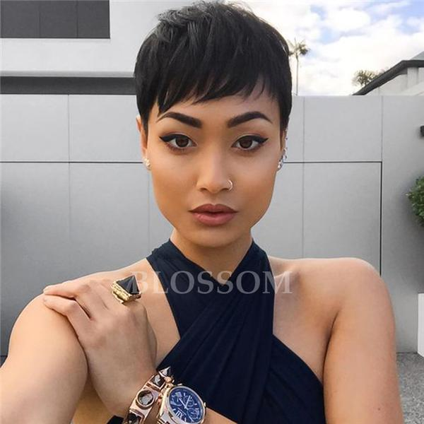 Straight Pixie Short Glueless Full Lace Human Hair Wig With Baby Hair Brazilian Human Hair Wig For Black Women