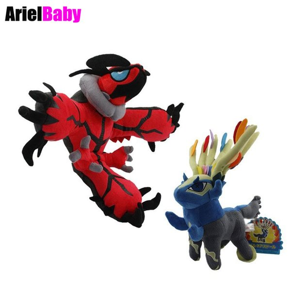OHMETOY New XY Xerneas Yveltal Cartoon Toy Plush Baby Dolls Anime Brinquedos Kids Gift Small Size 17-18cm Blue Red Tracking