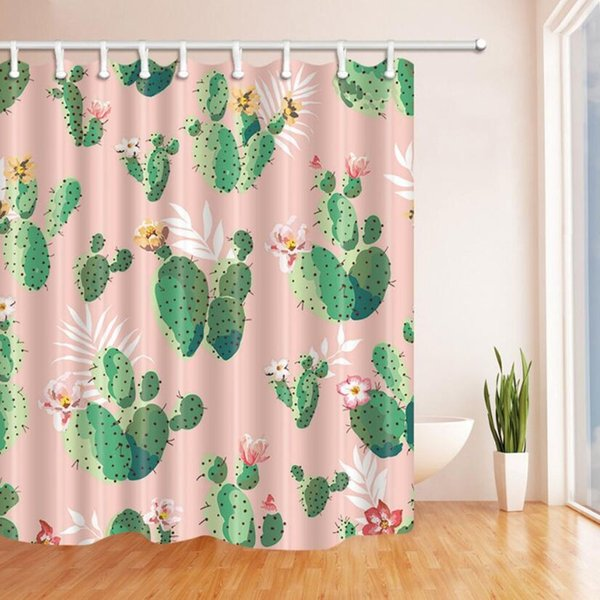 Cactus Shower Curtain Bathroom Decor Green Plant Flower Waterproof Polyester Fabric Home Bath Accessories Curtains Sets 70 X 70 Inch Pink