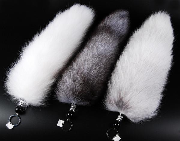 Wholesale-30-47cm Hakiki Kırmızı Tilki Gümüş Tilki Kuyruğu Anahtarlık Kürk Püskül Çanta Etiketi Charm Anahtarlık Ücretsiz kargo