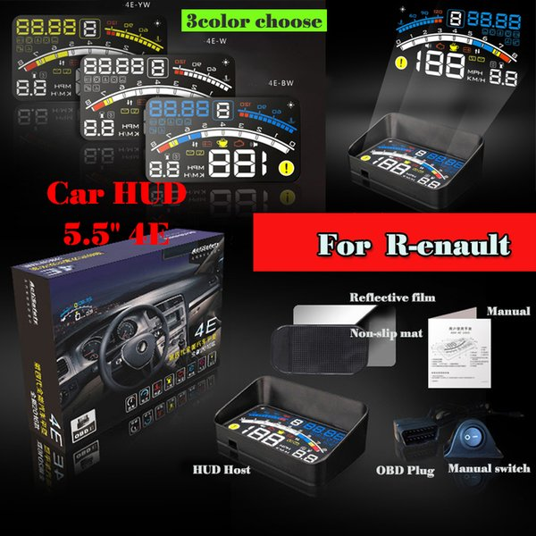 GPS Auto Accessories HUD Car Head Up Display Light projecting OBD II and EOBD Speedometer Auto accessories Free shipping YELLOW BLACK BLUE