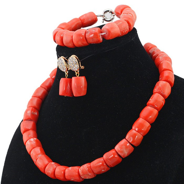 3A grade coral beads Simple Coral Beaded Fashion Necklace Earrings Bracelet Jewelry Set Cheap African Coral Jewelry Set for Women
