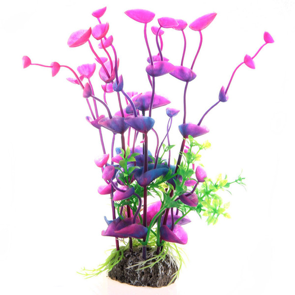 Plant Artificial Plastic Gradient Grass Aquarium Decoration Colorful Lifelike Purple Freeshipping