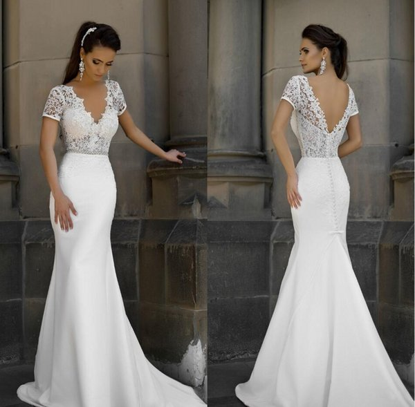 2019 new hort leeve mermaid heath formal wedding dre e backle applique lace backle bridal gown cu tom made