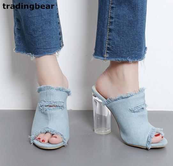women dress sandal high heels blue denim fabric PVC clear chunky heel slipper size 35 to 40