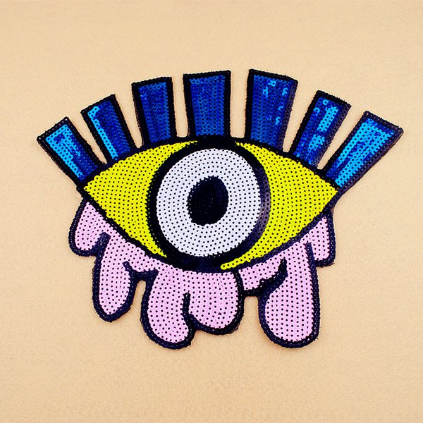 Big size big yellow pink blue white eye Sequined patches sewing on clothes garment DIY accessories Arts Crafts Gifts