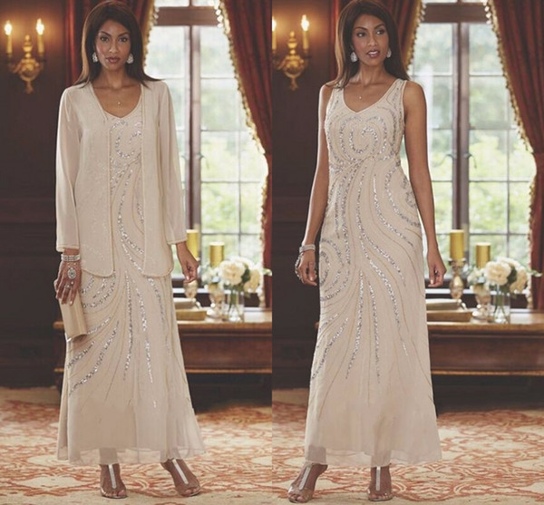 best selling 2019 Ankle Length Chiffon Mother of the Bride Groom Dress With Long Sleeve Jacket A-Line V-neck Beading Elegant Champagne Real Photo Plus