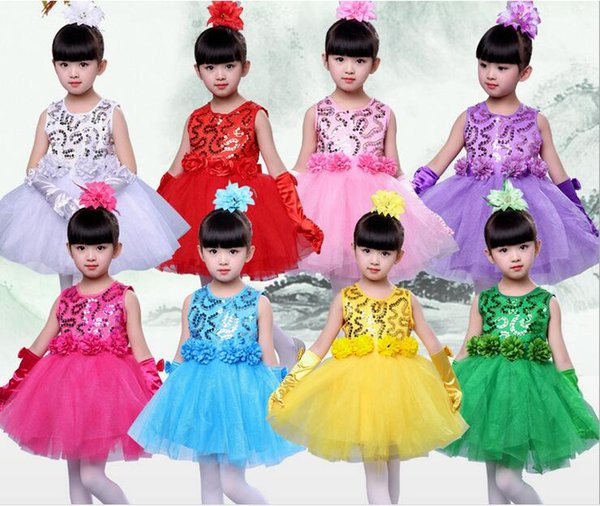 New children dance consume with head flower and glove girls bubble skirt princess conjoined veil dress for performance stage wear