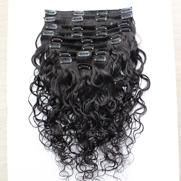 Best Quality 100G Brazilian Virgin Human Hair Clip In Extensions Virgin Hair Water Wave 10-30inch 8pcs/set Free Shippment