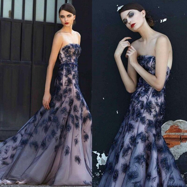 Luxury Ellie Saab Feathers Dresses Evening Wear Strapless Backless Mermaid Party Gowns Sweep Train Formal Dress