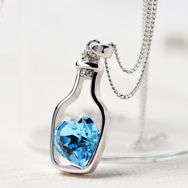 New Women Crystal Necklace Chain Love Drift Bottles Blue/Pink/Gold adjusted Length Alloy Ladies Fashion Popular Womens Jewelry