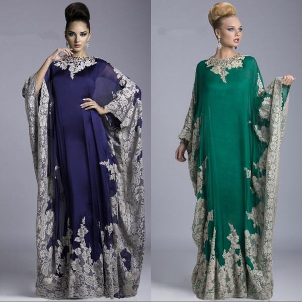 Hunter Green Long Sleeve Mother Of The Bride Dresses Jewel Neck Applique Lace Formal Dress Arabic Evening Dresses Abaya Dubai