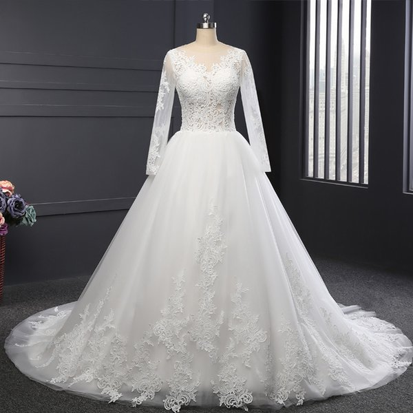 Real Photos Sheer Neck Long Sleeve Ball Gown Wedding Dresses White ...