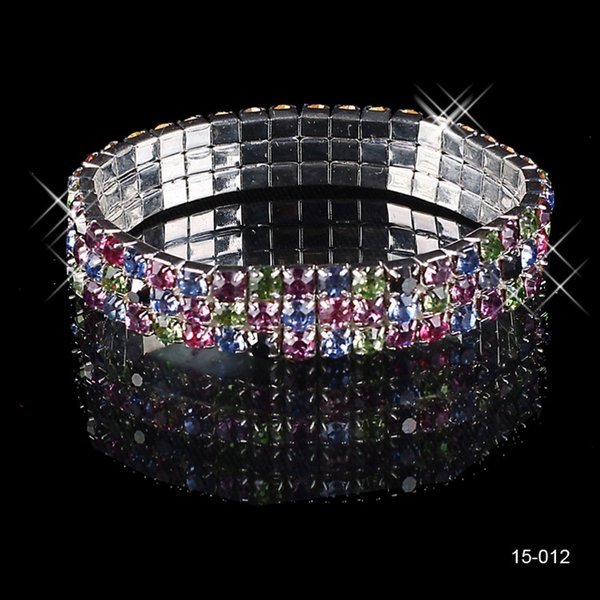 15012 Cheap Beautifui 3 Row Multi-stone Crystal Bangle Wedding Bracelets Bridal Jewelry for Women Party Prom Evening