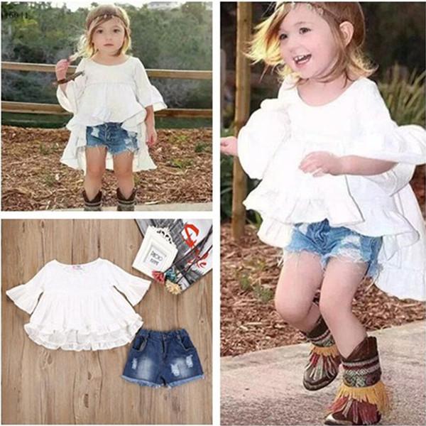2017 Novas Meninas chiffon INS ternos 2 pcs define crianças bowknot vestido de coattail doce + shorts jeans terno crianças roupas B001