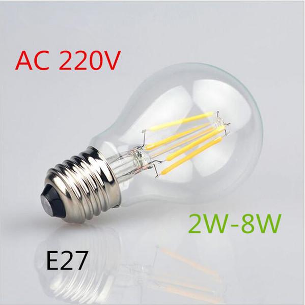 50x lastest Antique Retro Edison Incandescent LED lamp AC220V E27 2W 4W 6W 8W COB LED Filament Glass Bulb For Art Lighting