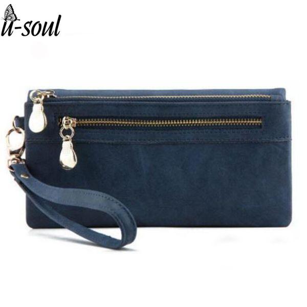 Wholesale- Fashion Women Wallets Dull Polish PU Leather Wallet Double Zipper Day Clutch Female Leather Wallet Laies Purse SC0025