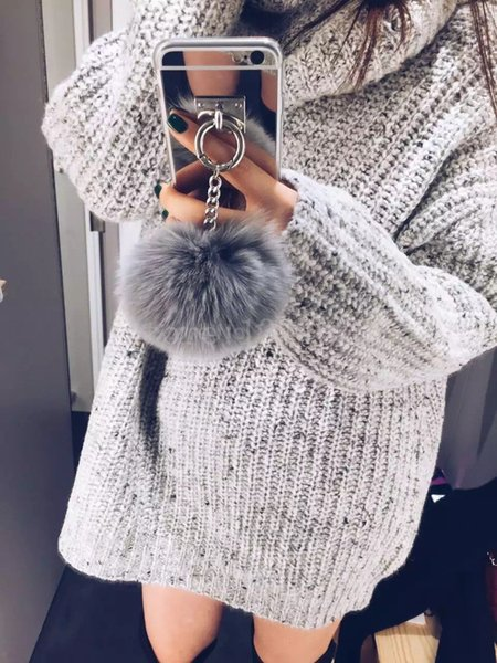 2017 Gold Metal Rope Mirror phone Back Cover Capa gold chain rabbit fur ball pompom For iPhone 7Plus Case