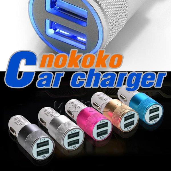 Best Metal Dual USB car charger Port Auto-Ladegerat Universal 12 Volt / 1 ~ 2 Amp for iPhone Samsung Galaxy