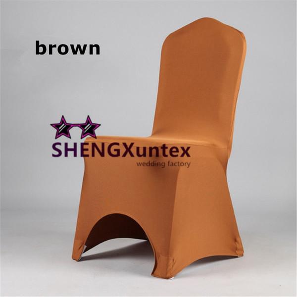Cor marrom arco frente cor verde Lycra Spandex cadeira capa preço de atacado