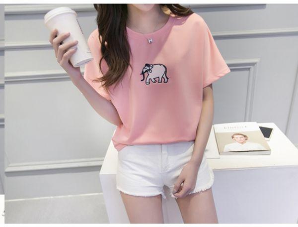 2017 sommer mode frauen heiße verkäufe Schöne Gute Qualität Komfortable Marke Shirts Weiche cartoon elefant koreanischen stil t-shirt
