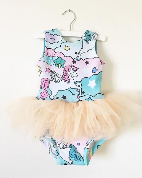 Cartoon Baby Clothes For Newborn Summer Girls Unicorn Print Romper 2017 Baby Girl Gauze Tutu Causal Romper Bodysuit Sunsuit