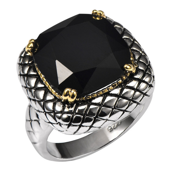 Fashion Jewelry Rings Huge Black onyx 925 Sterling Silver Ring Factory Price For Women and Men Size 6 7 8 9 10