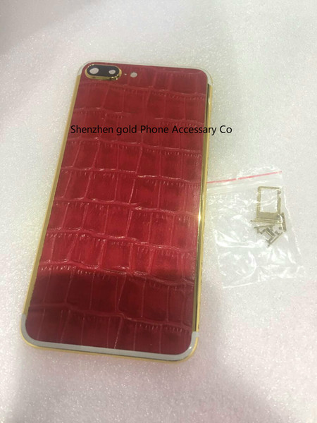 24K Gold Back Housing Cover real red leather Skin Battery Door For iPhone 7 7+ Luxury Limited Edition 24Kt Golden for iphone7
