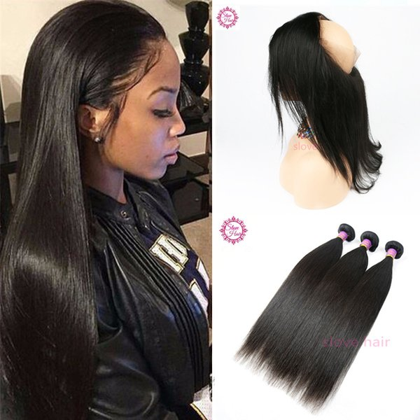 360 Lace Frontal Closure With Bundles Brazilian Virgin Human Hair Silky Straight Weave With Full 360 Frontal Band Natural Hairline