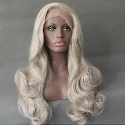 """100% Brand New High Quality Fashion Picture full lace wigs>>24"""" Lace front wig heat resistant synthetic hair Body Wavy Bleach Blonde color"""