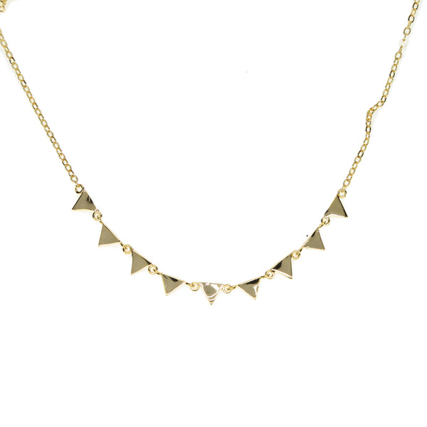 2017 cheap wholesale gold plated jewelry triangle charm 41+5cm simple delicate chain women geometric fashion necklace
