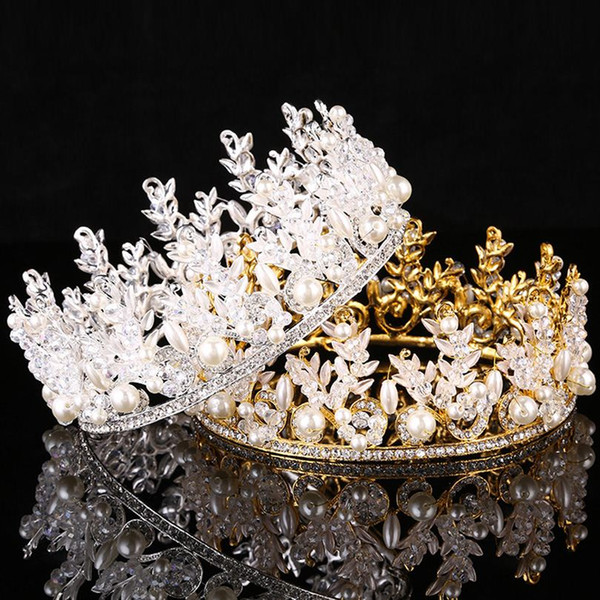 Hot Sale European Designs King Queen Crown Rhinestone Hair Jewelry Quinceanera Crown Wedding Bride Tiaras Crowns Pageant Headpieces Headband