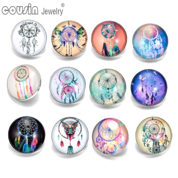 2017 New Arrivals 12pcs/lot DreamCatcher Amazing Pattern 01 Glass Buttons Fit 18mm snap button Jewelry Faceted glass Snap For Snaps Jewelry