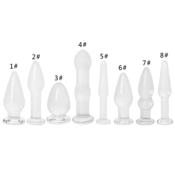 HOT 1 UNID Glass Anal Vaginal Dildo Butt Plug Beads Erótico Estimulador Adulto Juguete Del Sexo q170687