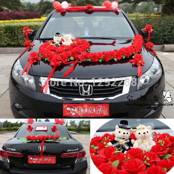 Best artificial flowers wedding car decoration set red wedding car artificial flowers 1 setlot wedding car decoration set red wedding car flower with bear junglespirit Gallery