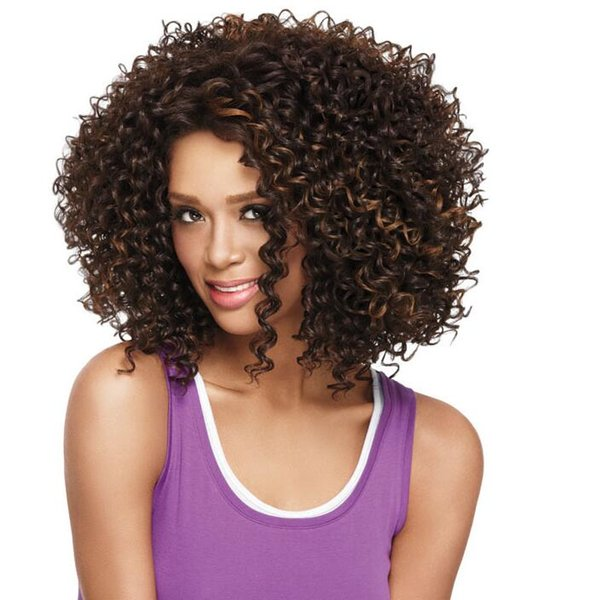 Cheap Price Highlights Black Brown Short Curly Wig For Black Women Heat Resistant Synthetic Afro Kinky Curly Hair