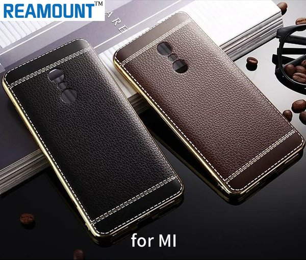 Fashion PU Leather Shock-Absorption Bumper Hybrid Slim Fit Plating Rubber Silicone Back Case Cover for red mi note2 note 3 note 4