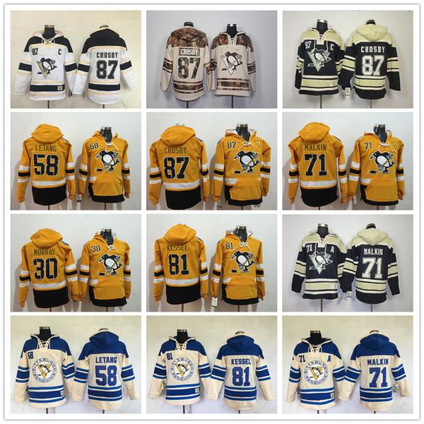 2017 Pittsburgh Penguins hoodies Evgeni Malkin Phil Kessel Sidney Crosby Kris Letão Matt Murray Estádio Série de Hóquei Com Capuz Moletons