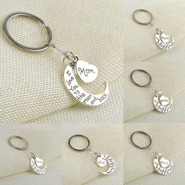 Hot love keyring chaveiros Eu te amo Para a Lua e Para Trás chave pingente anéis da lua coração encantos presentes chaveiros