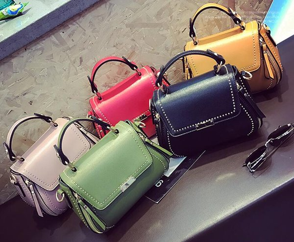2017. Rivet. Bridal Bridesmaid handbag. Fashion casual bag. Girl. PU. Soft. Women's Bags.Cross Body.Shoulder Bags.Totes. Mini. Small.