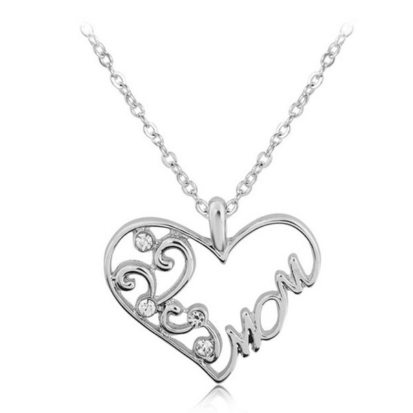 """Wholesale Fashion Korean Mother and Child Love """"Mom"""" Crystal Pendant Necklace Mother's Day Gifts Sweater Chain Necklaces For Women"""