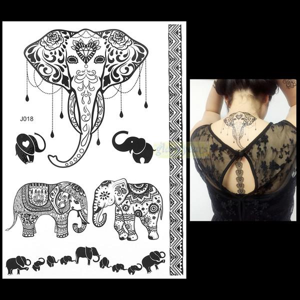 Wholesale-1PC Fashion Flash Wasserdichte Tattoo Frauen Schwarze Tinte Henna Jewel Sexy Lace BJ018 Elefant Hochzeit Henna Temporäre Tätowierung Aufkleber